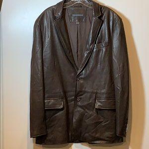 John Varvatos Brown Leather Blazer
